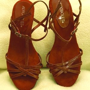 Aerosole wedge thin strappy sandal burgandy red 5